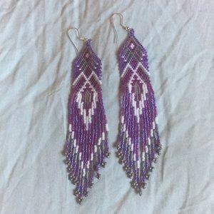 Gorgeous handmade beaded long fringed earrings